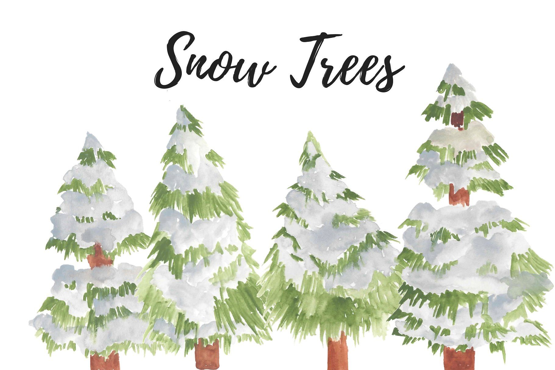 Watercolor Christmas Snow Trees Place Color Background Piece