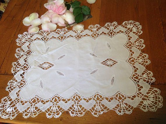 Large Placemat Dresser Runner Scarf Scalloped Cluny Lace Edged White Placemat With Cluny Lace Insets French Vintage Large