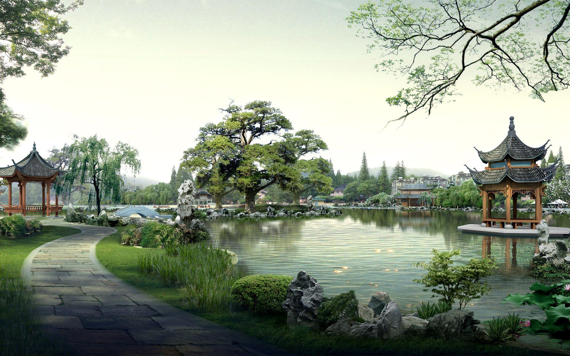 Japan  River Flowers Nature Landscape  HD POSTER