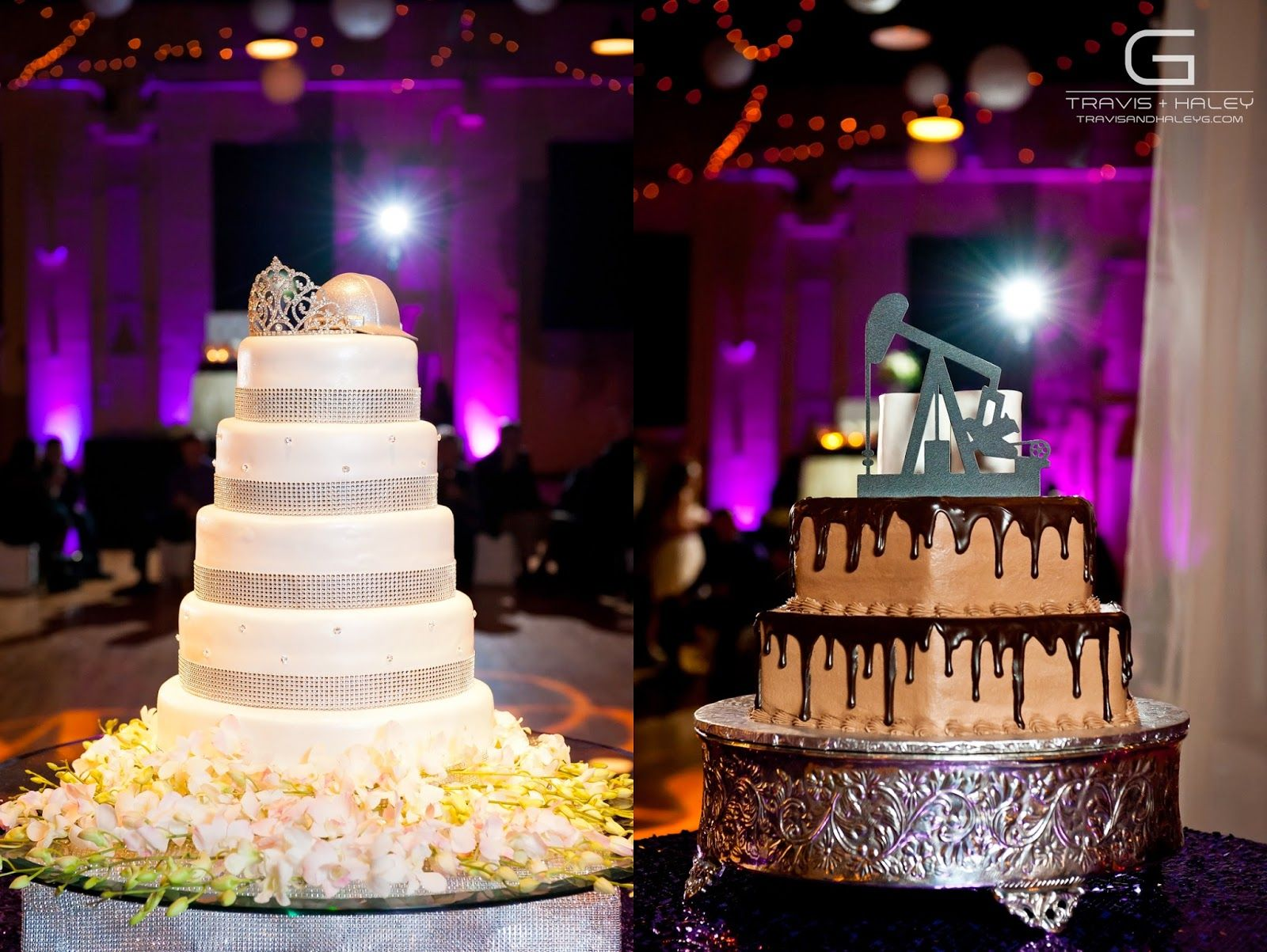 Tiara and Hard Hat cake topper, Oilfield Groom's cake