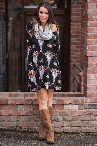 By the Horns 3/4 Sleeve Flower Crown Bull Skull Shift Dress (Black) - NanaMacs.com - 1