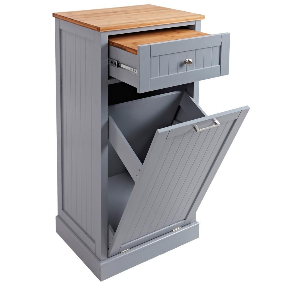 Grey microwave kitchen cart with hideaway trash can holder