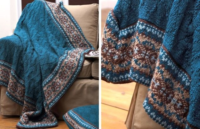 Fair Isle Border Knitted Blanket And Pillow [FREE Knitting Pattern ...