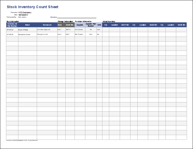 sample inventory sheets