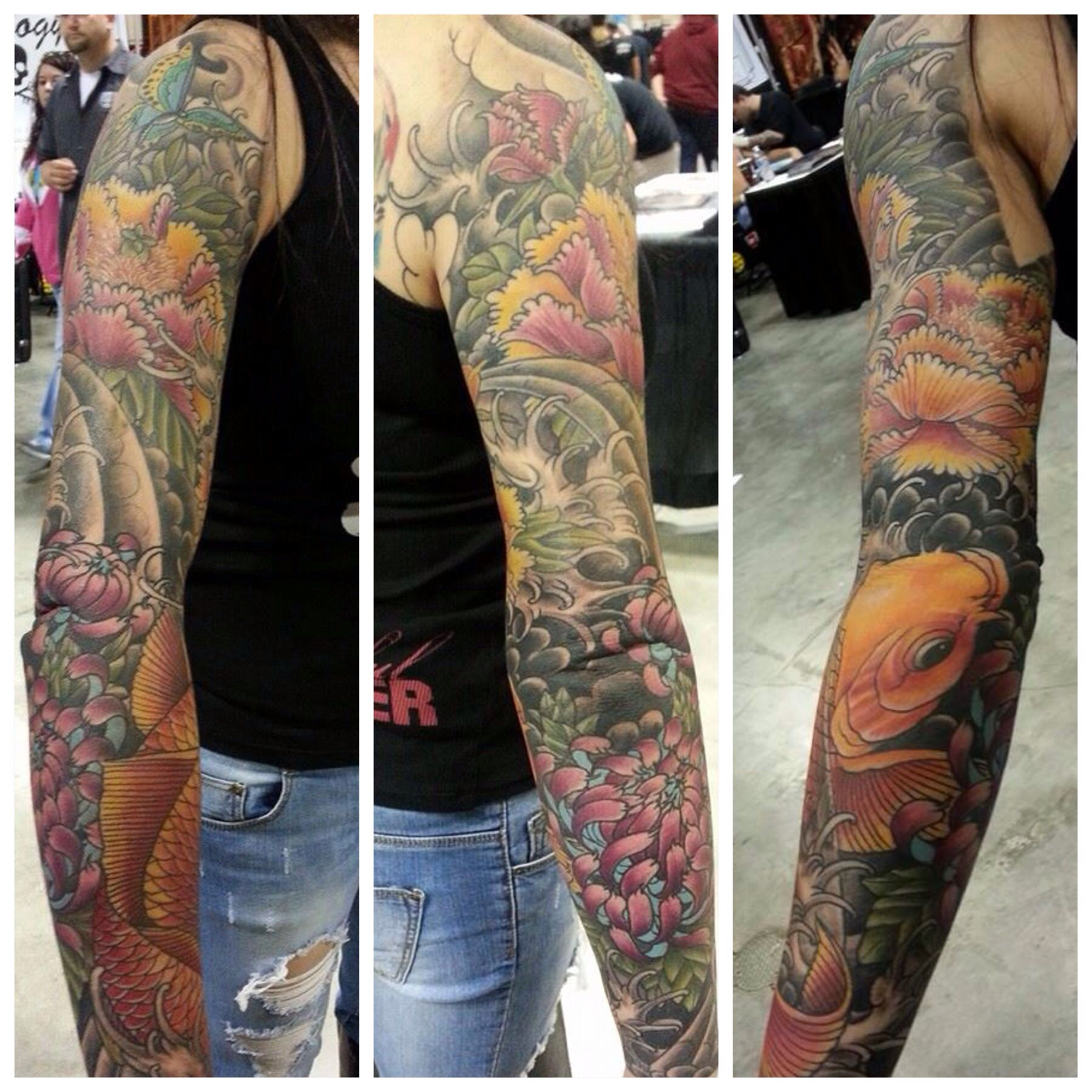 Full Asian traditional, floral, koi fish tattoo sleeve