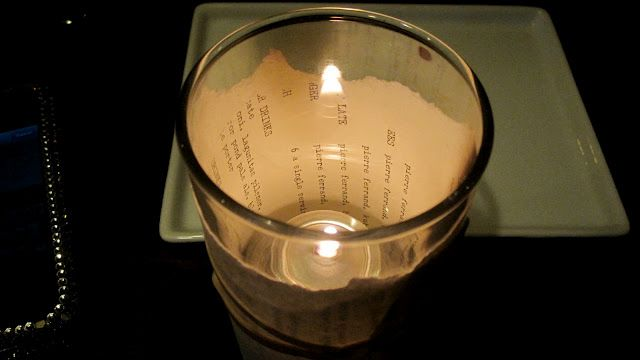 Such a simple yet cute idea :) wrapping votives with the words facing inwards instead of outward