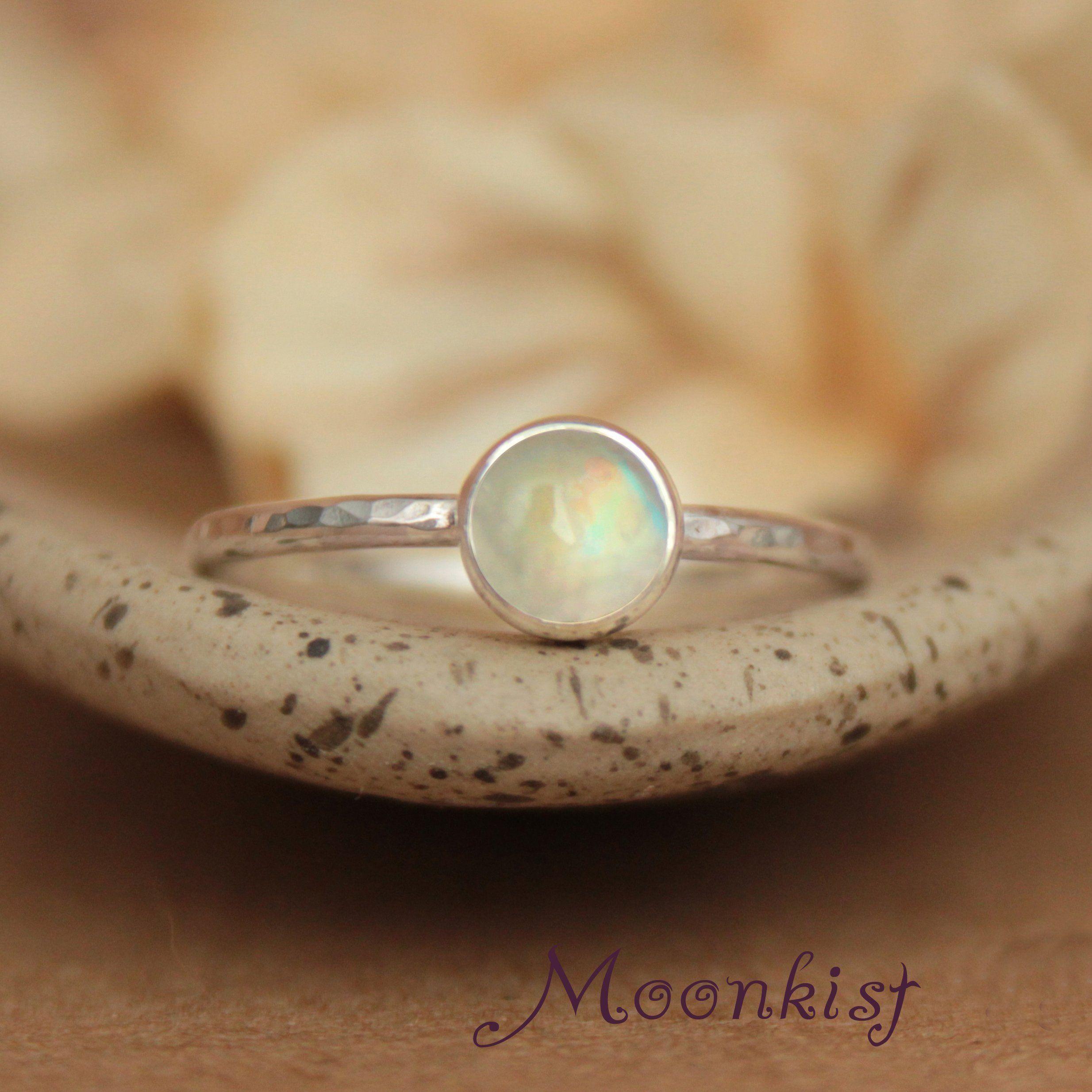 Rainbow promise ring moonstone gemstone ring bezel set silver