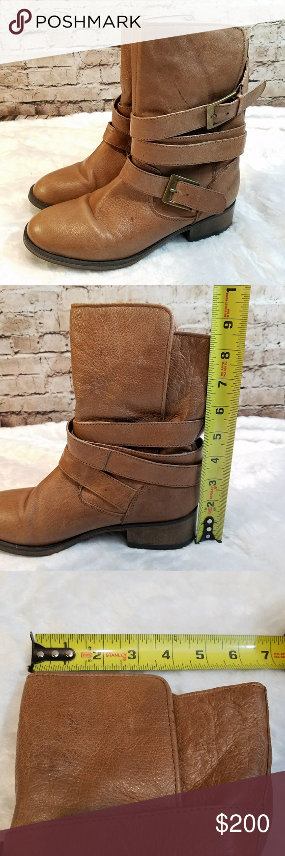 """Steve Madden Elle Boots Steve Madden brand Elle style name In very good condition  Size 8 1.5"""" heel Approx 9"""" shaft height Approx 6.5"""" leg opening laid flat Leather uppers, fabric lined inside There are a few marks here and there, they almost seem like they were intentional distressing Some wrinkling at toe Steve Madden Shoes Ankle Boots & Booties"""
