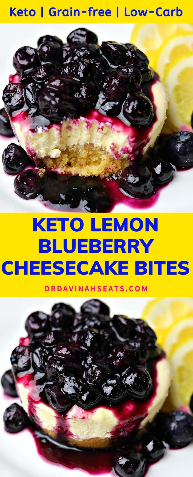 Keto & Low-Carb Lemon Blueberry Cheesecake Bites