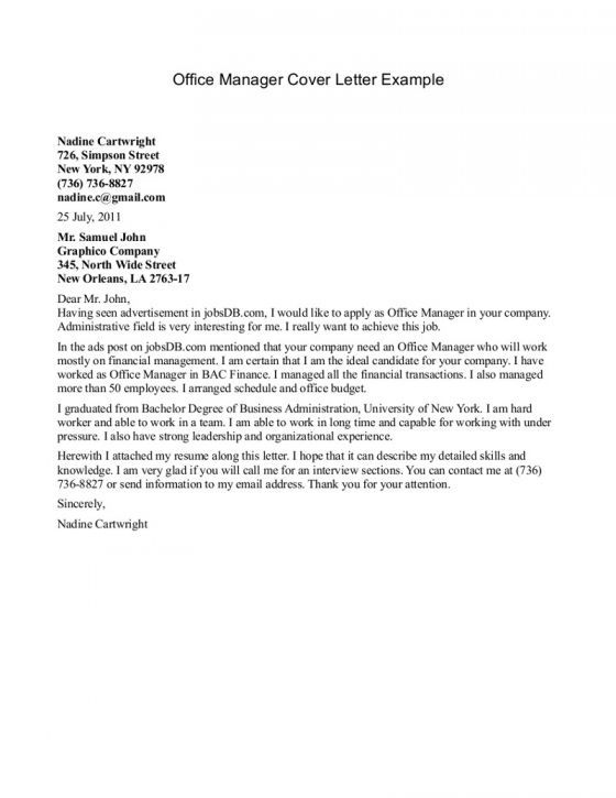 Cover Letter For Office Manager Sample  Letter