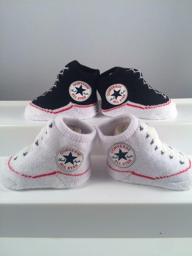9260fadbfec4 2 Pair Converse Chuck Taylor 0-6 Months Baby Booties Newborn Black White  Gift  Converse  Booties
