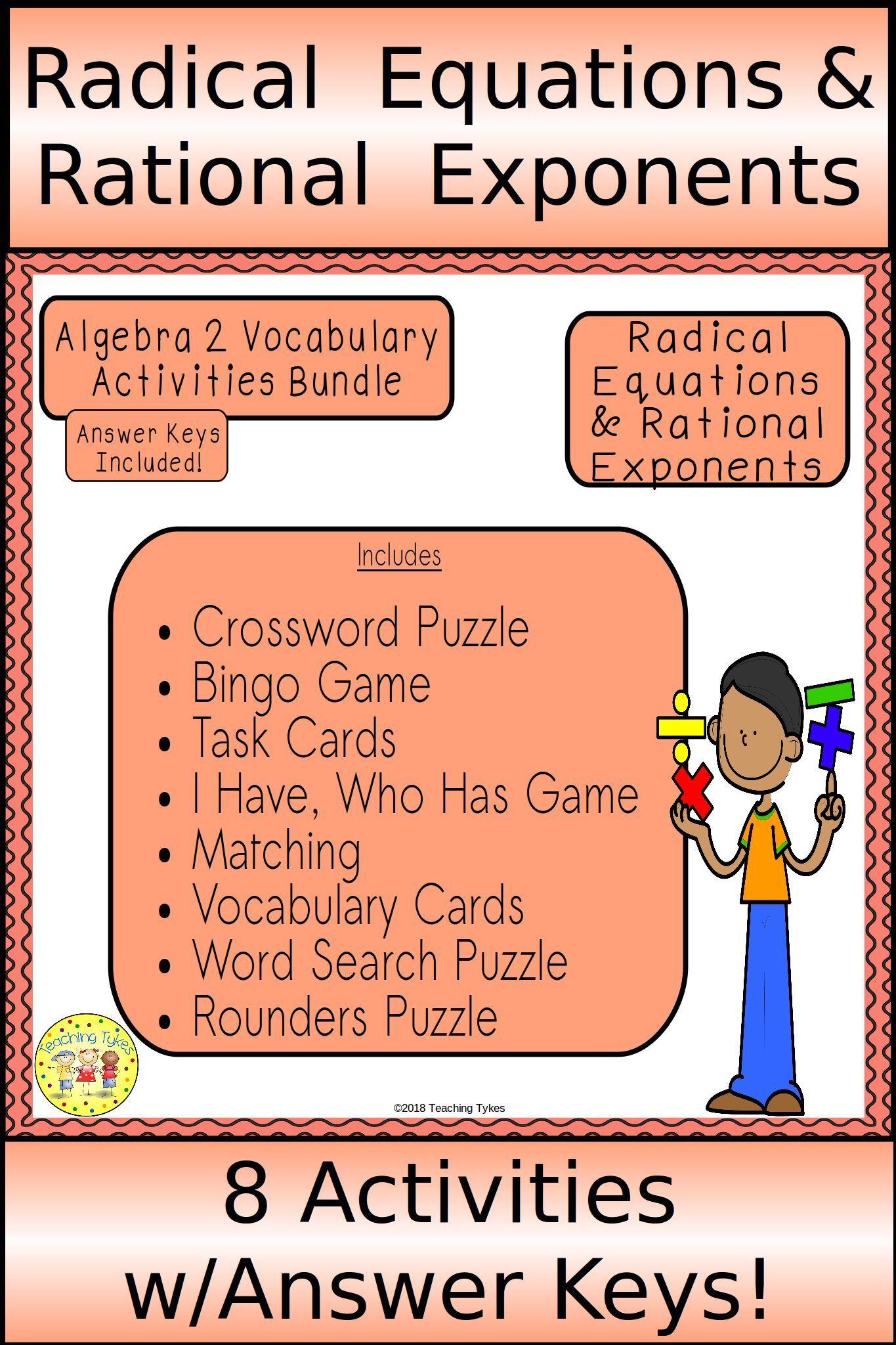 Radical Equations And Rational Exponents Algebra 2 Bundle