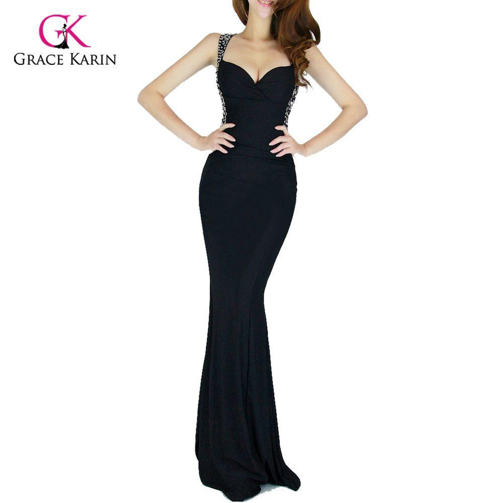 259012543 Vestido de noche grace karin 2017 mujeres barato backless azul rojo  slim-line de partido atractivo del bodycon negro largo formal vestido de  sirena vestidos