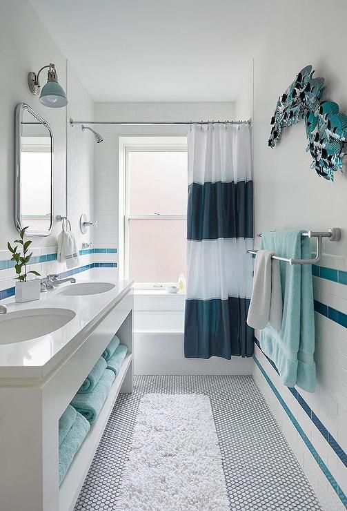 White And Blue Stripe Bathroom Wall Tiles