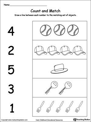 Count And Match 1 Through 5 Haus Fitness Printable Preschool Worksheets Preschool Worksheets Preschool Counting