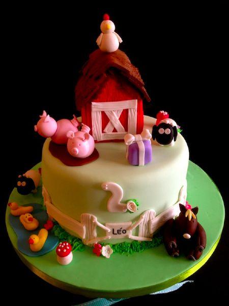 gâteau anniversaire : la ferme | gâteaux - sculptures et pièces