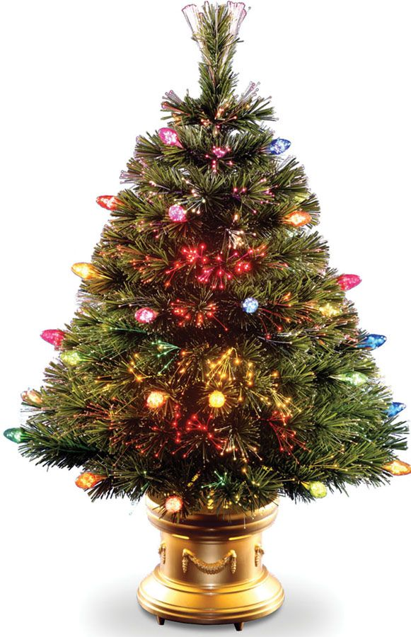 48 Fiber Optic Christmas Tree With Multi Faceted Bulbs And Gold
