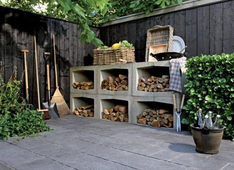 Idee Pour Organiser Ses Buches De Bois Pour Chauffage Beton Tuin Houtopslag Tuin Ideeen
