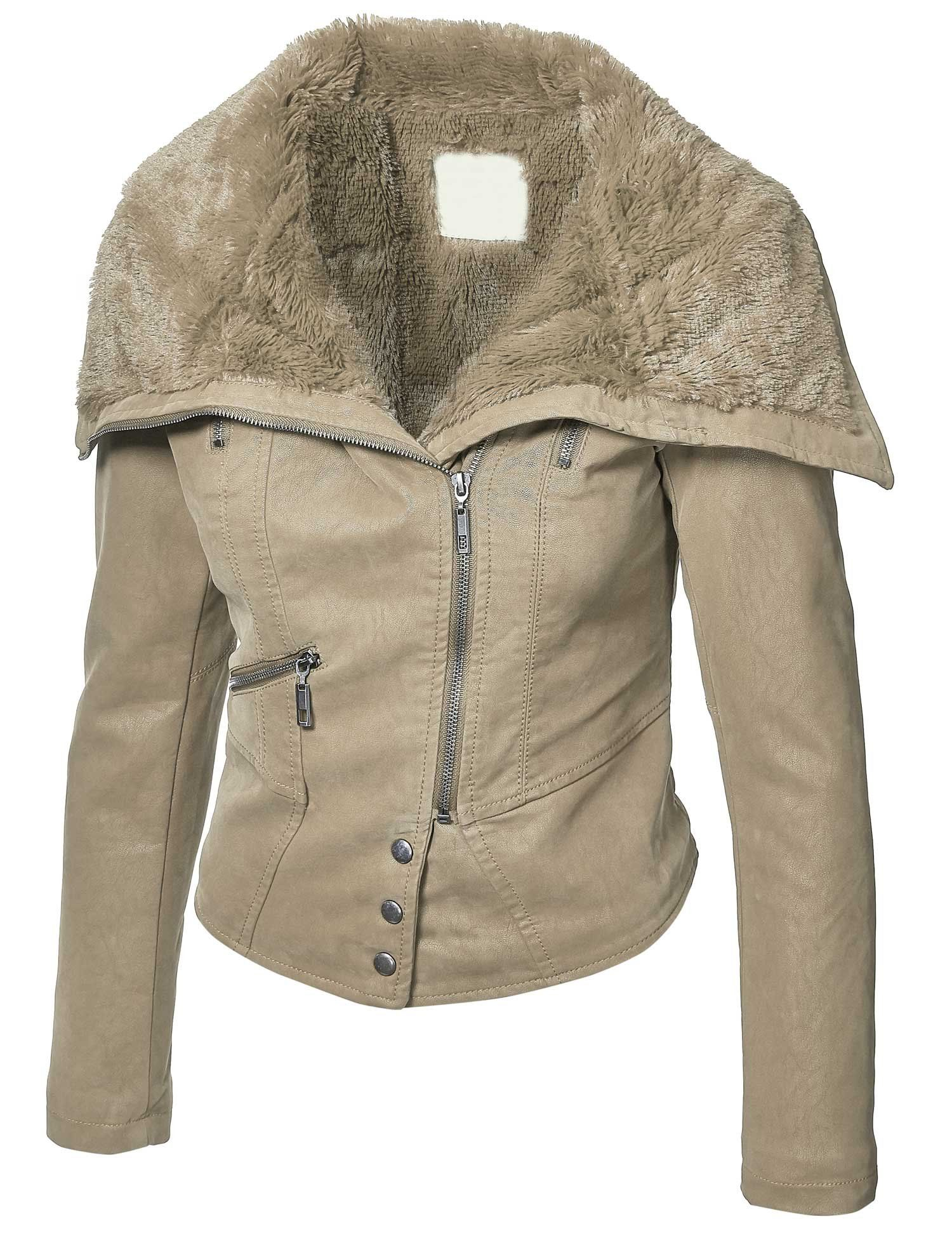 Made by Johnny Womens Faux Fur Mix Vegan Leather Jacket S