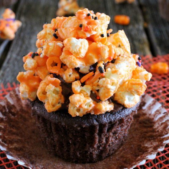 Chocolate Popcorn Halloween Cupcakes, a light and moist chocolate cupcake crowned with sweet and salty popcorn.