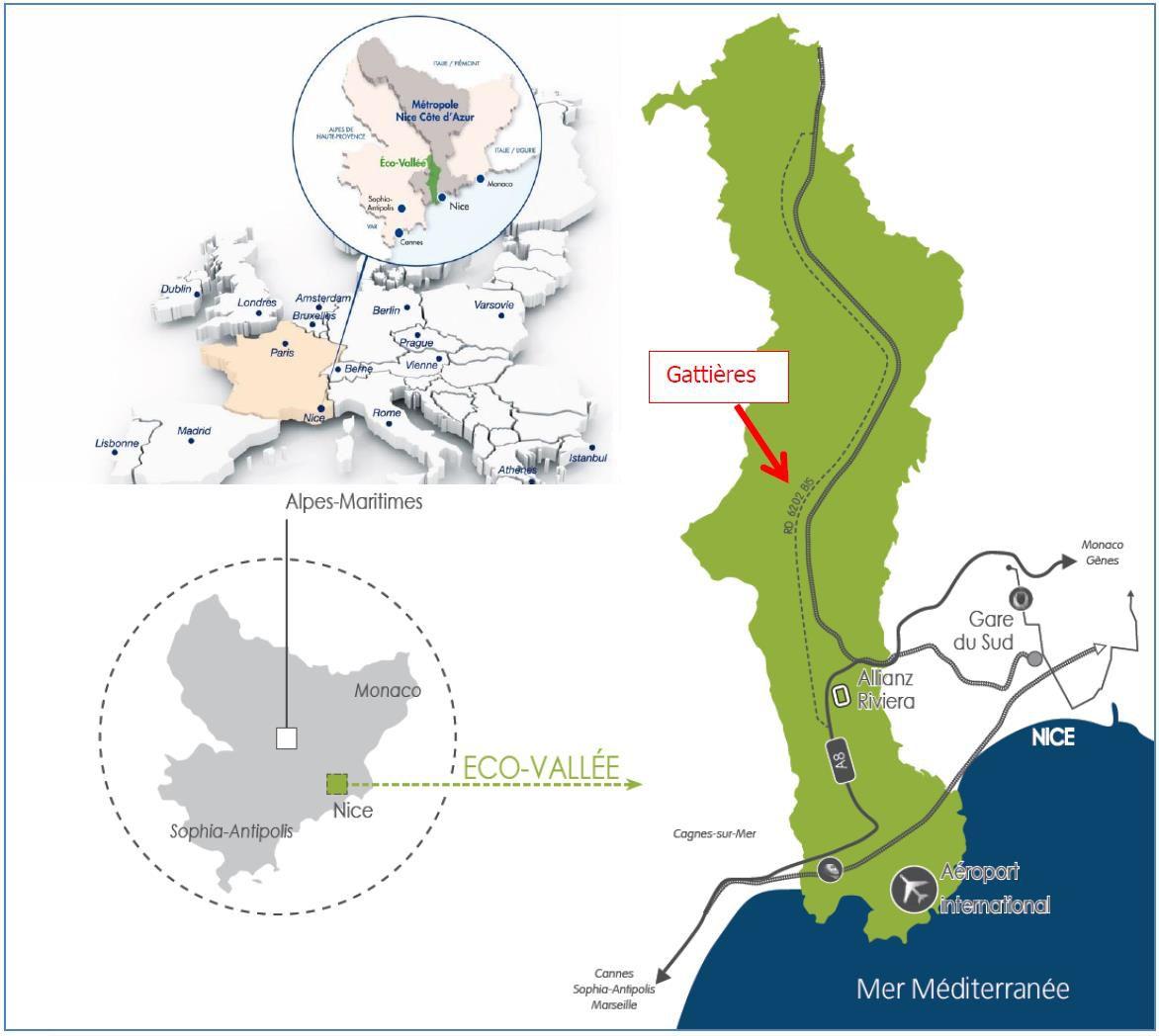 carte: Localisation: Les Bréguières, Gattières, 06510 ©EcoVallée2017