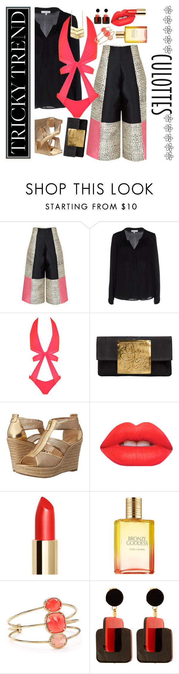 """""""Cool Culottes"""" by petalp ❤ liked on Polyvore featuring Paper London, Milly, Agent Provocateur, Dareen Hakim, MICHAEL Michael Kors, Lime Crime, Kate Spade, Marni, TrickyTrend and culottes"""