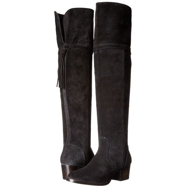 Frye Clara Tassel Over-The-Knee (Black Oiled Suede) Women's Boots ($548) ❤ liked on Polyvore featuring shoes, boots, over-the-knee boots, thigh boots, black thigh-high boots, over-the-knee suede boots, black fold over boots and black over the knee boots