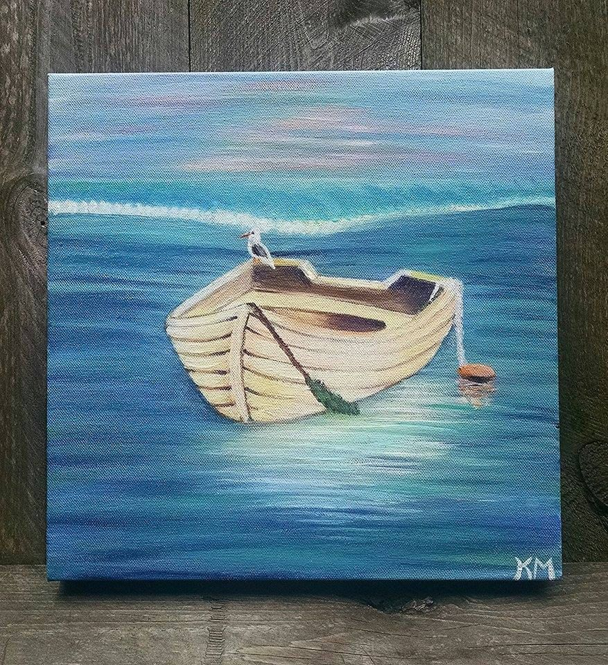 12 X 12 Boat In The Water Painting Acrylic On Premier Canvas