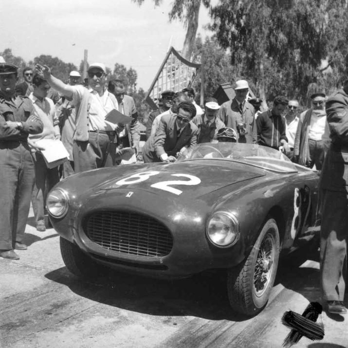 1954 Ferrari 250 MM at Targa Florio driver Biondetti   PITS,BITS ...
