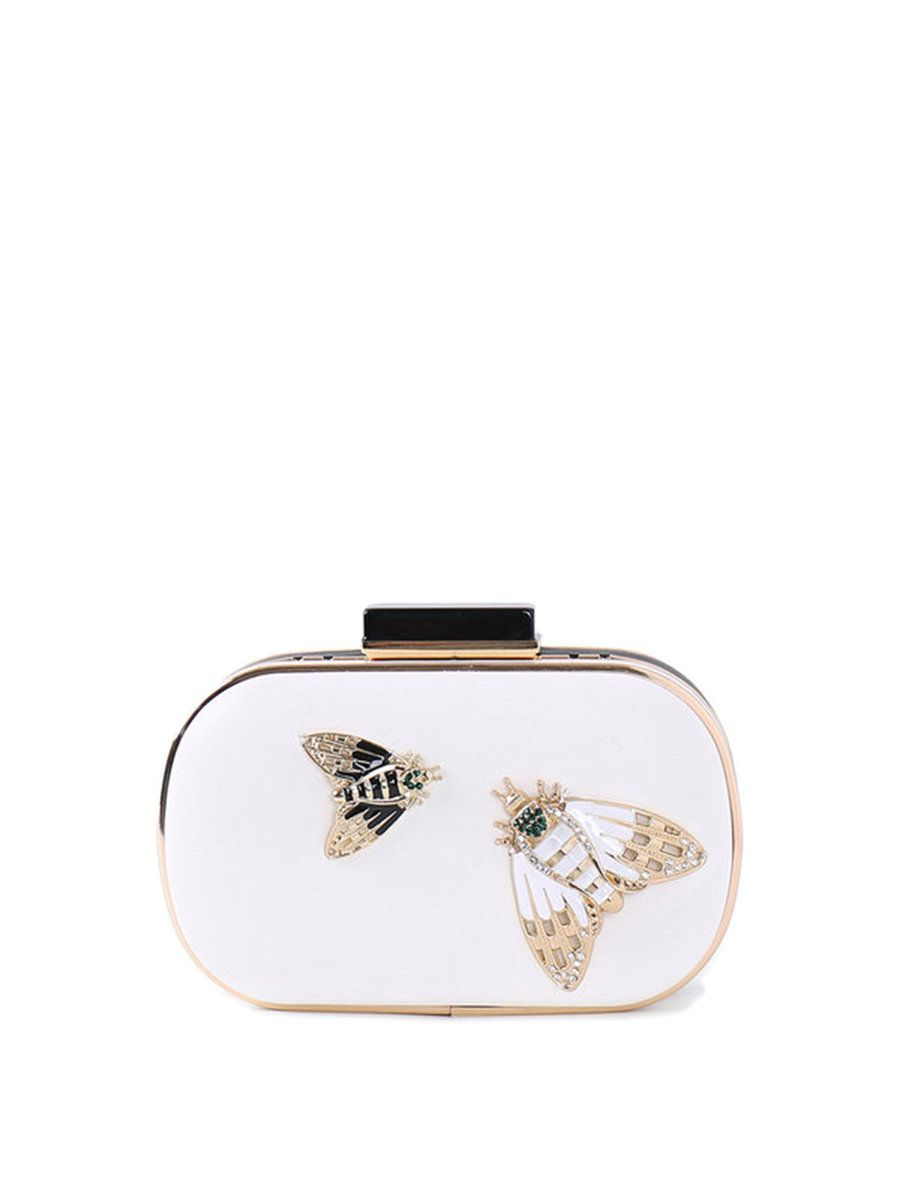 #AdoreWe #StyleWe RADISH White Mini Evening Insect Embellished Clutch - AdoreWe.com