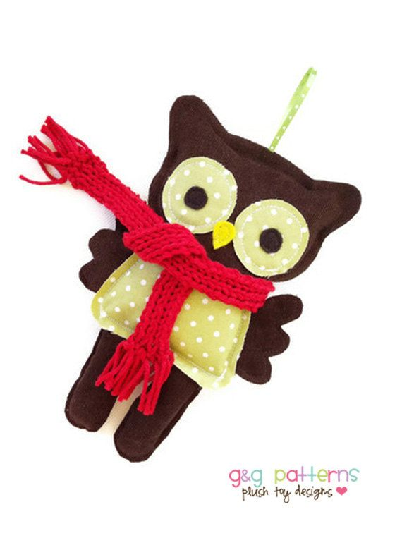 Owl Sewing Pattern - Owl Ornament - Christmas Sewing Pattern - PDF ...
