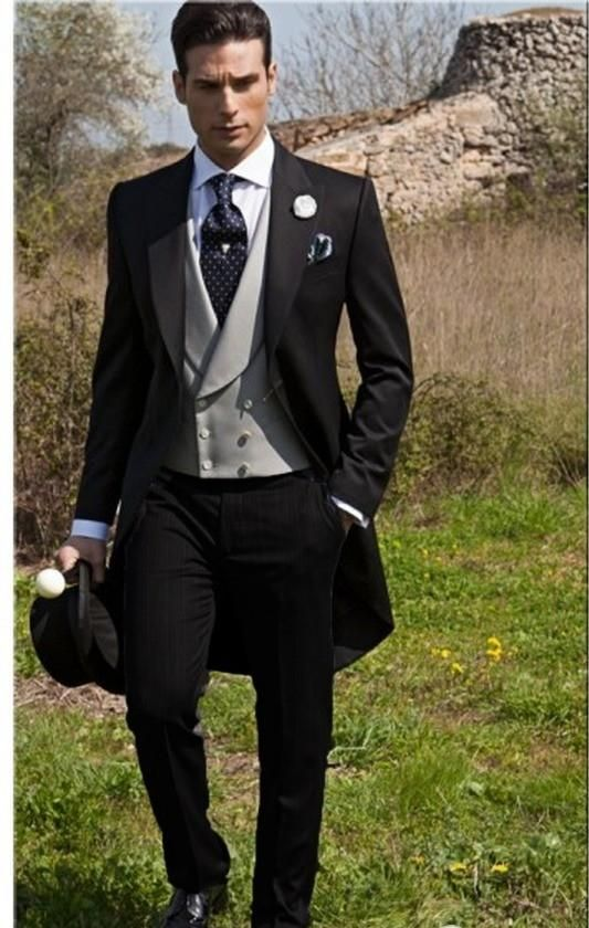 Cheap Custom Made Slim Fit Morning Style Groom Tuxedos Peak Lapel ...