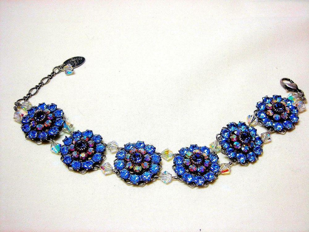 Liz Palacios Swarovski Crystal Flower Bracelet AB Aurora Borealis Purple Blue #LizPalacios