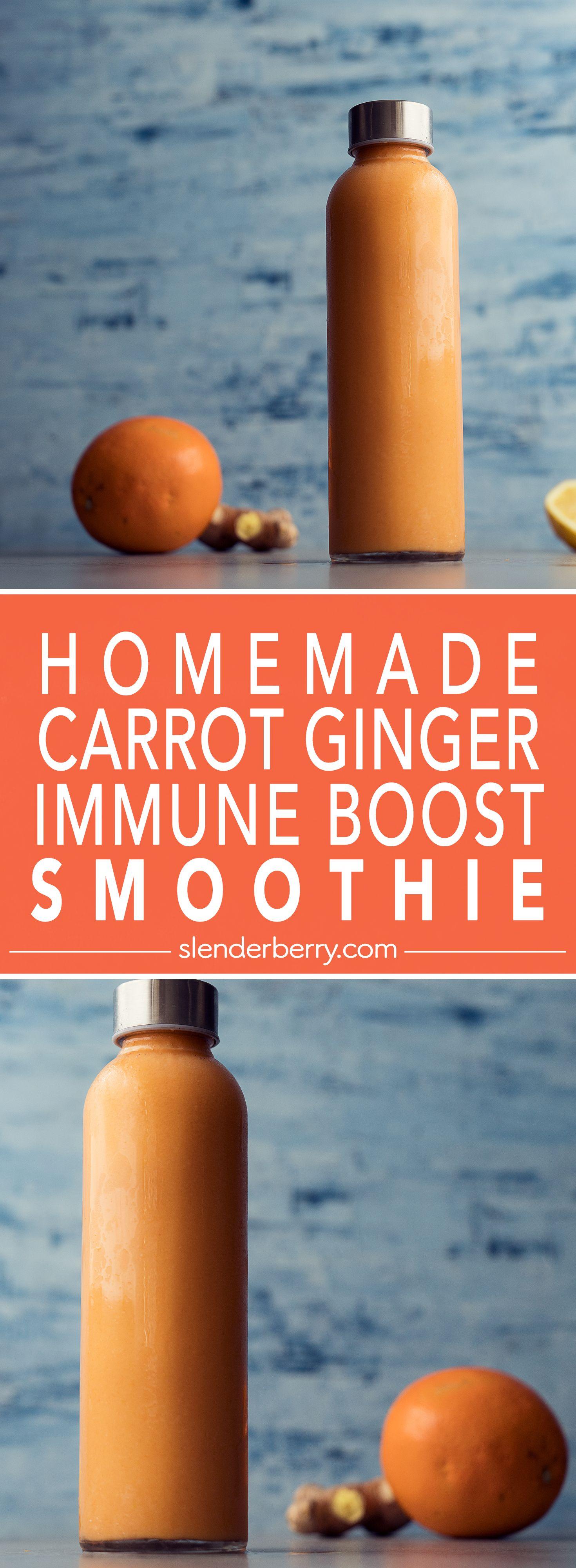 Homemade carrot ginger immune boost smoothie
