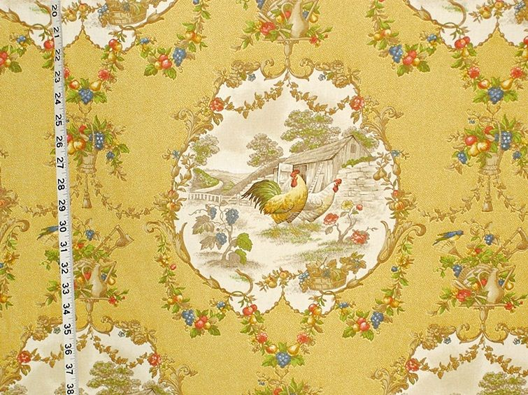 PKaufmann County Fair Yellow Rooster Toile Fabric French - Country french fabric