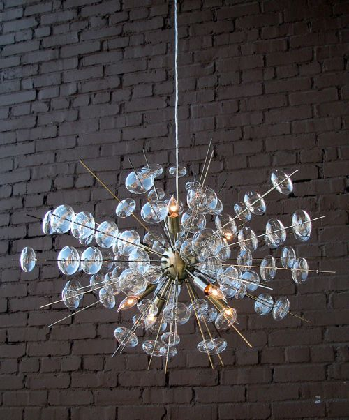 Bubbles Glass Chandelier in Brass Finish House Digs