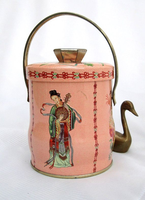 Vintage Tin//Asian//Pink//Gold from Tessiemay by tessiemay on Etsy, $9.00