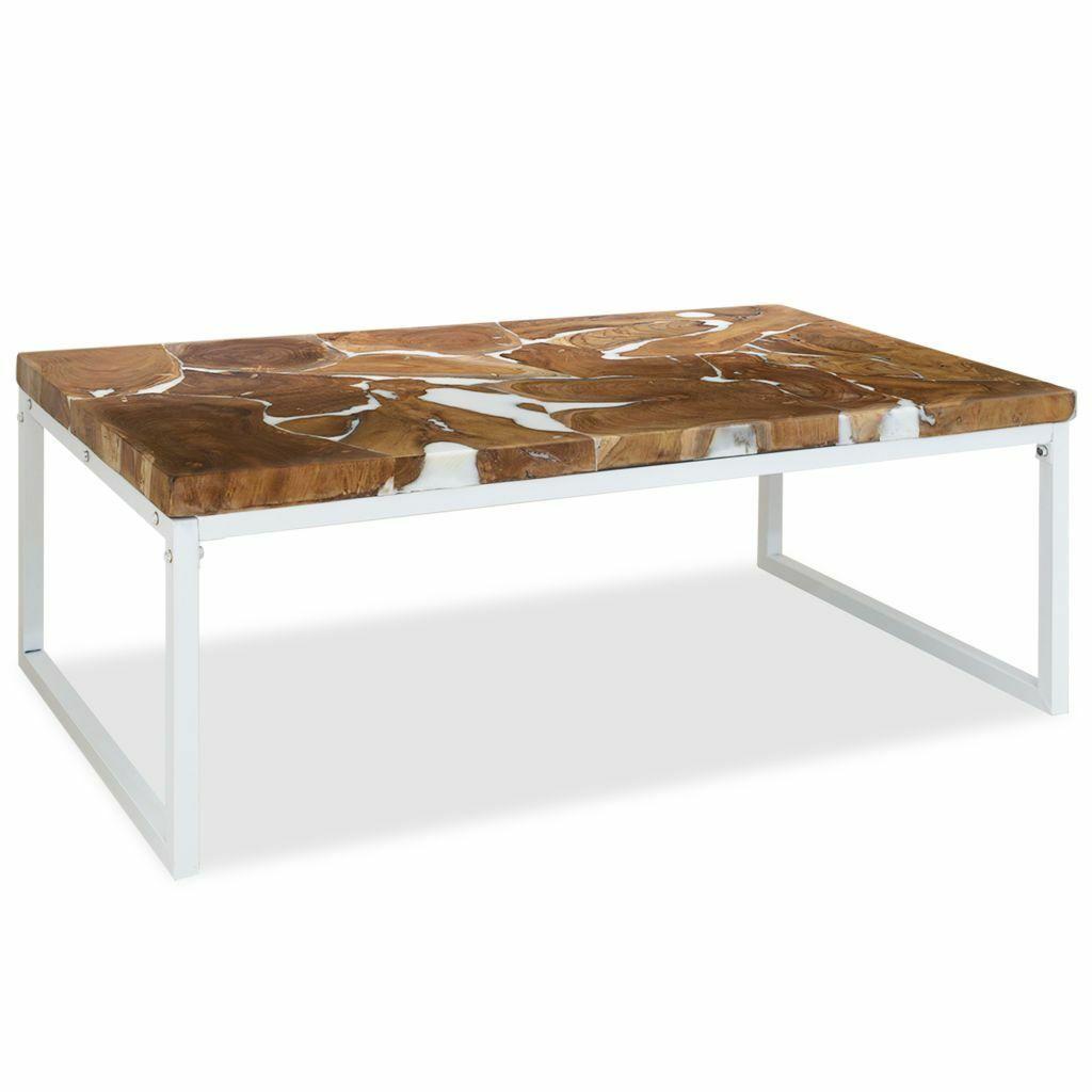 Table Basse Vidaxl Table De Salon En Bois De Teck Et Resine