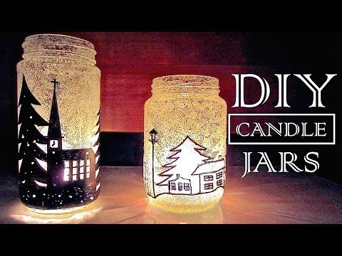 DIY Weihnachtsdekorationen   Wie Kerzenständer Recycling alten Gläsern Stellen - YouTube