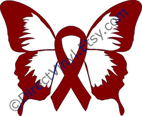 Burgundy Awareness Ribbon Butterfly Window Decal Brain Aneurysm