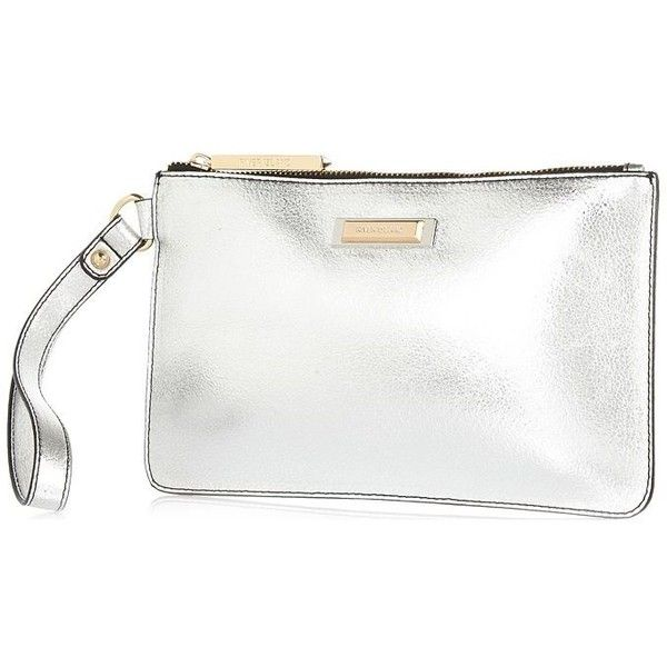 345195ccb99 River Island Silver metallic clutch bag ($30) ❤ liked on Polyvore featuring  bags, handbags, clutches, bags / purses, clutch bags, silver, women, white  ...