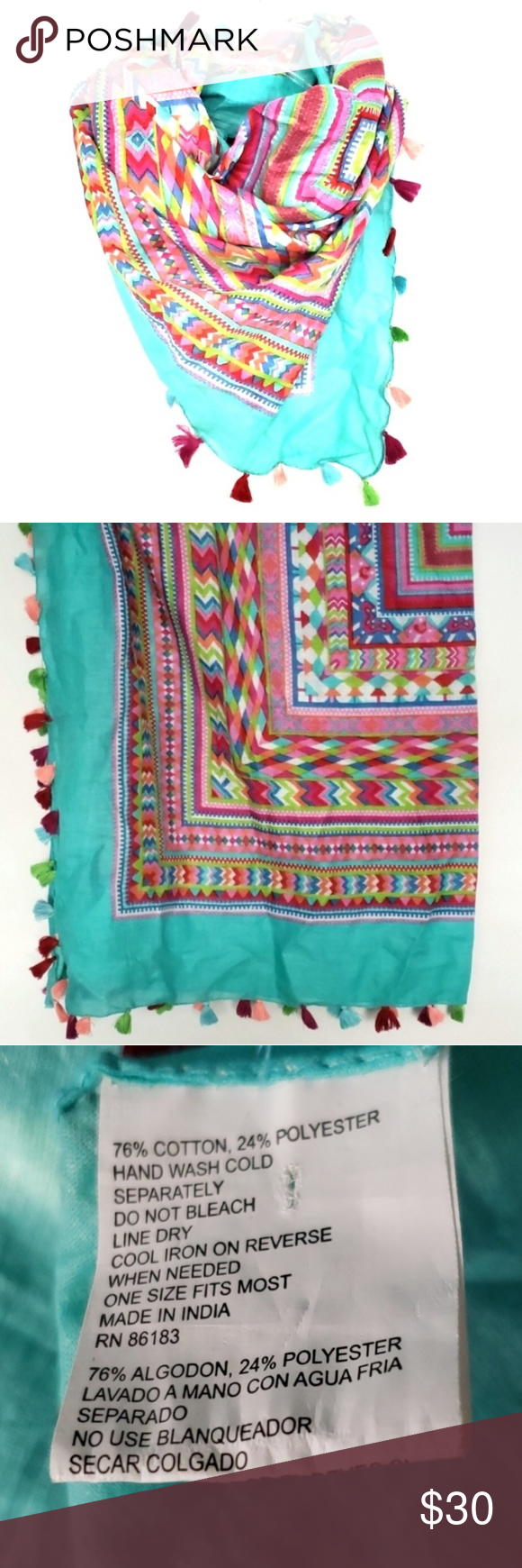 Multicolored Turquoise Tribal Print Pom Pom Scarf Fabulous Multicolored Turquoise Tribal Geometric Print Pom Pom Scarf.   Measures 42 inches x 41.5 inches  Preowned Excellent Condition   03102019R05012019 Accessories Scarves & Wraps
