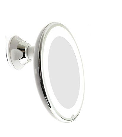Jiben Led Lighted 10x Magnifying Makeup Mirror With Locking Suction Cup Bright Diffused Light And 360 Degree Rotating Adjule Arm