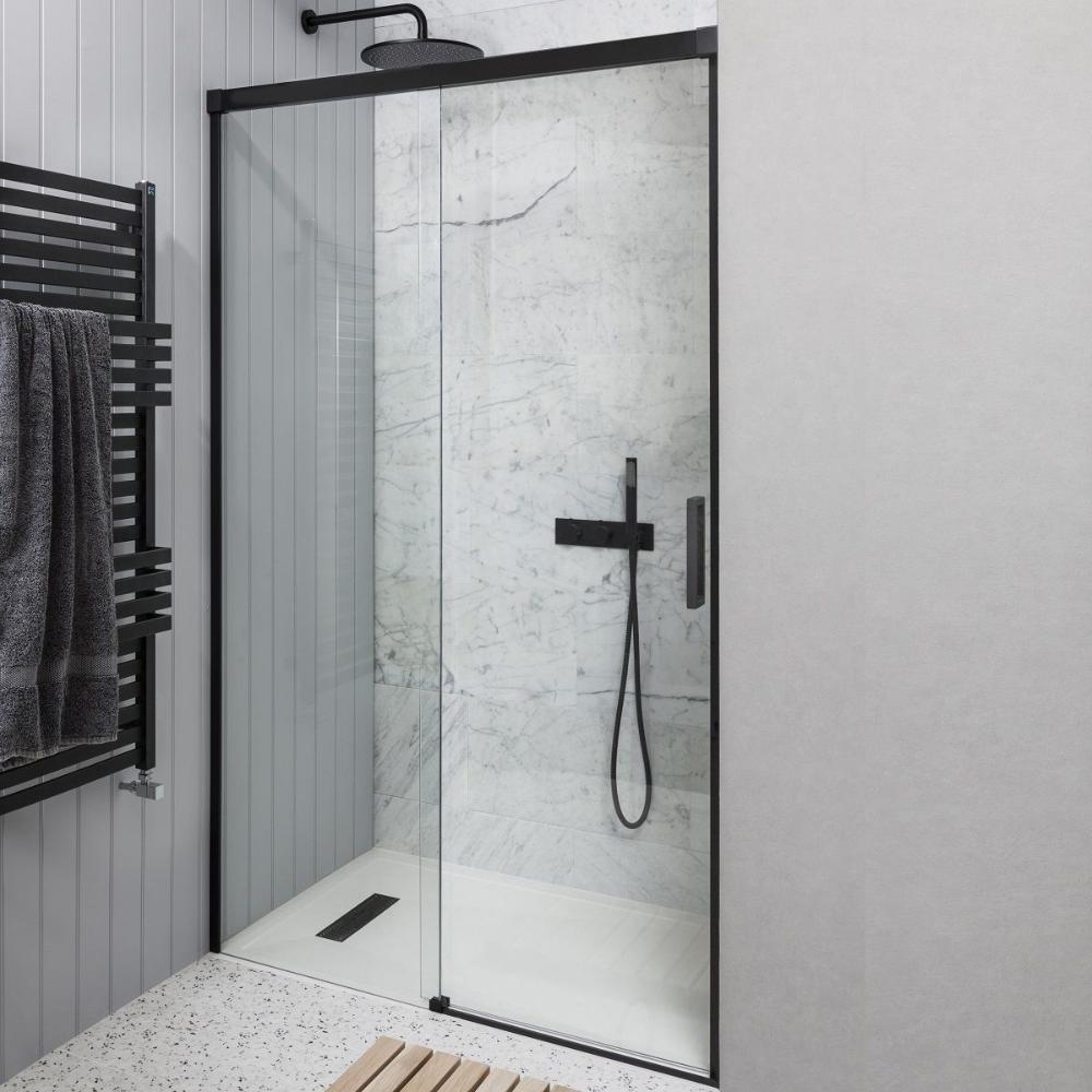 Crosswater Design Matt Black Sliding Shower Door In 2020 Shower Doors Shower Cubicles Shower Enclosure