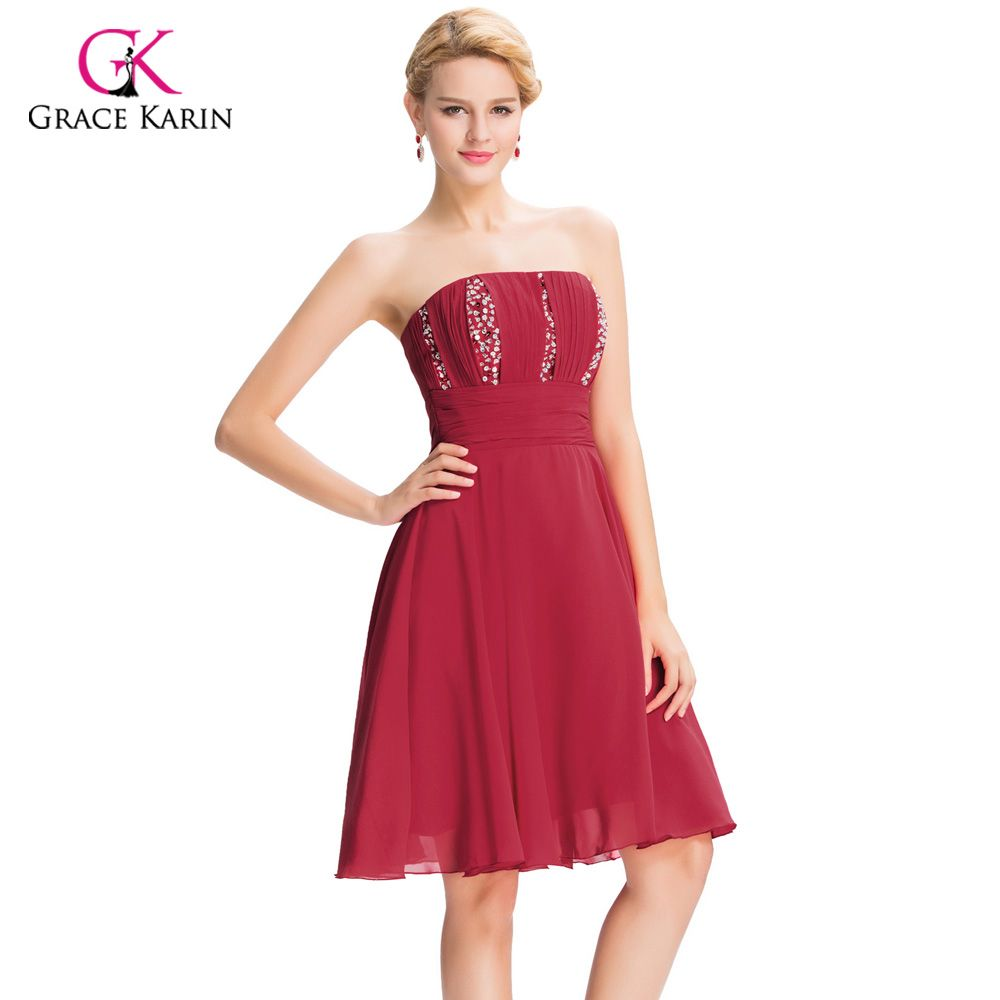 Click to buy ucuc grace karin strapless burgundy red short prom