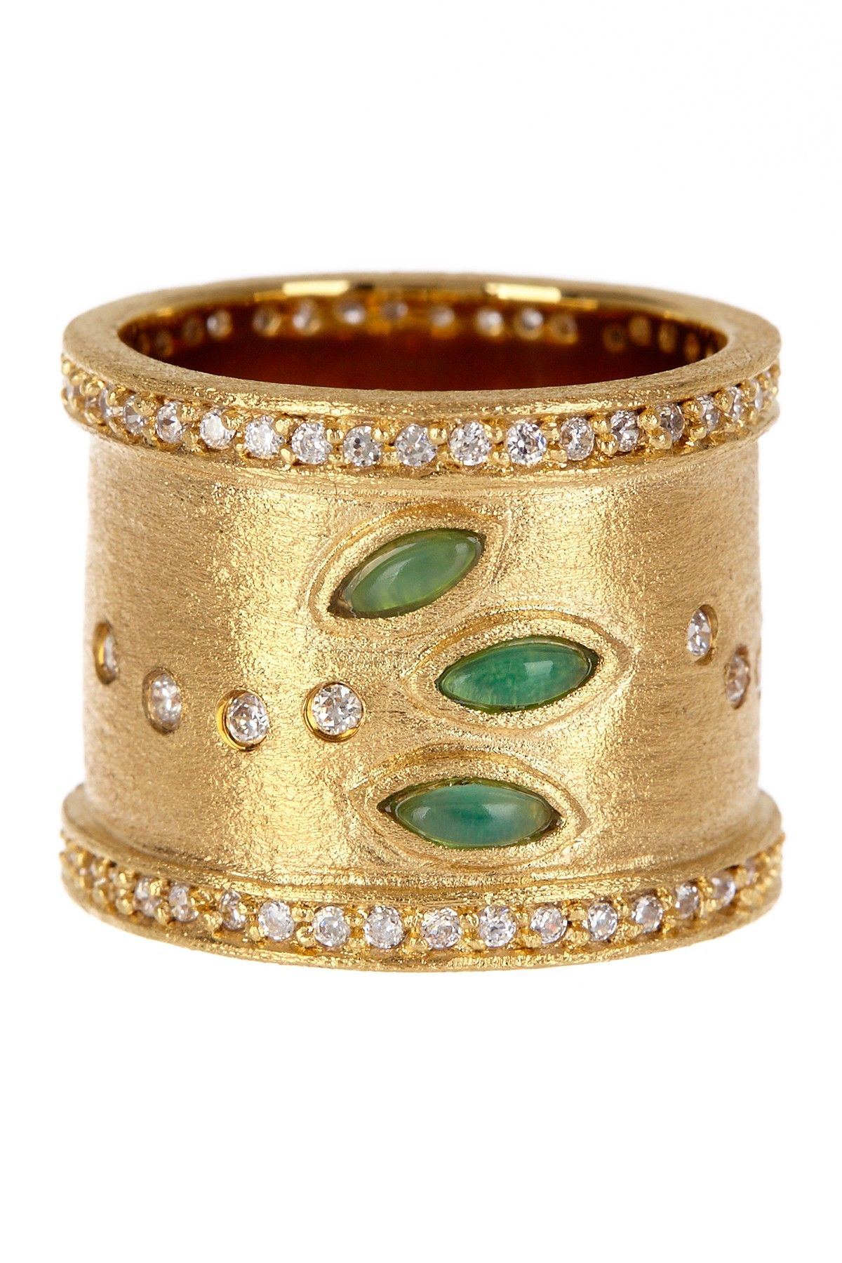 K gold clad faceted green onyx and simulated diamond band ring on