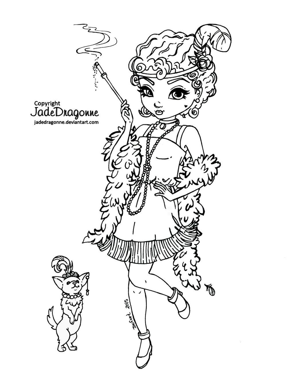 1920s coloring pages for kids | 1920's flapper - Lineart by JadeDragonne.deviantart.com on ...