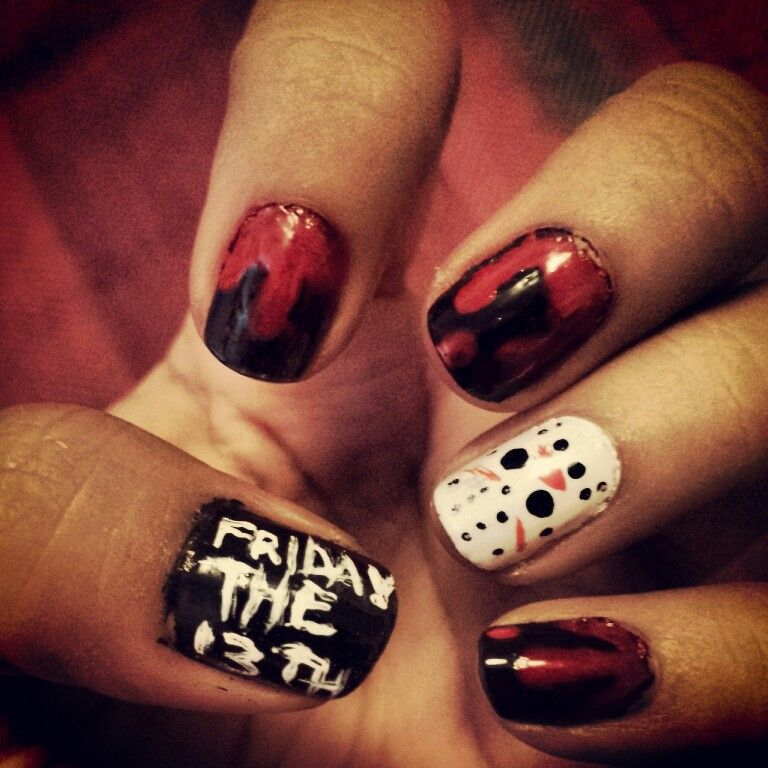 Friday the 13th jason nails for halloween monster | Halloween nails ...