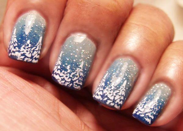 Blue Ombre Trees Snow Nails Snow Nails Christmas Tree Nails Christmas Nail Art