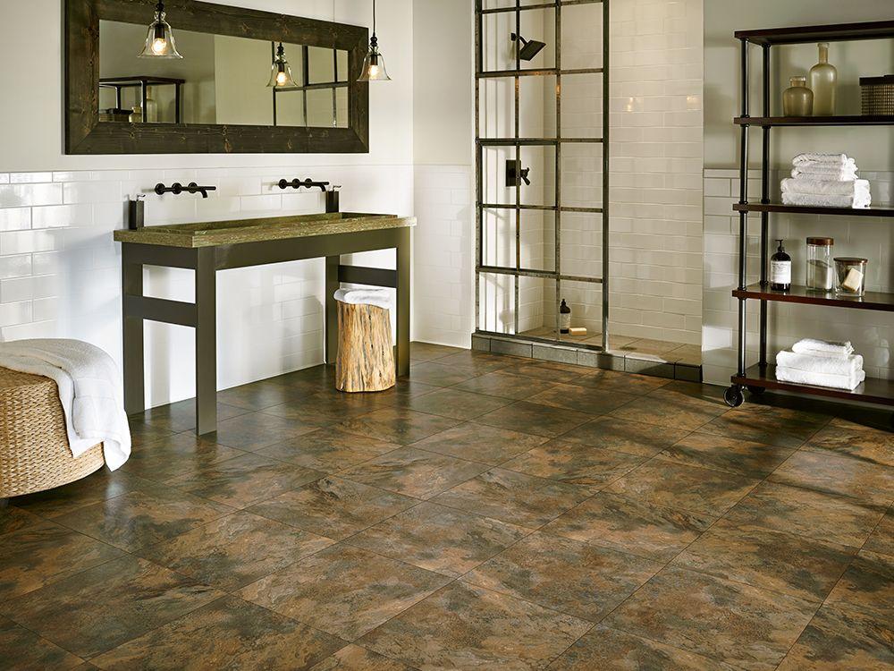 Armstrong Luxury Vinyl Tile Flooring Lvt Slate Look Dark Brown Bathroom Ideas